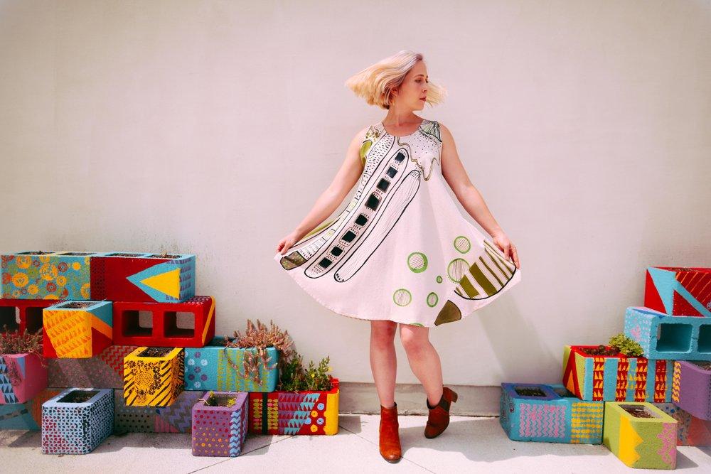 Moss garden trapeze dress