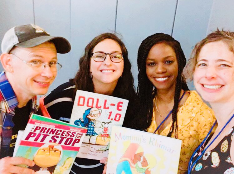 Tom Angelberger (far left), Shanda McCloskey (middle left), me (middle right), and Anica Mrose Rissi (far right) on the children's book panel.