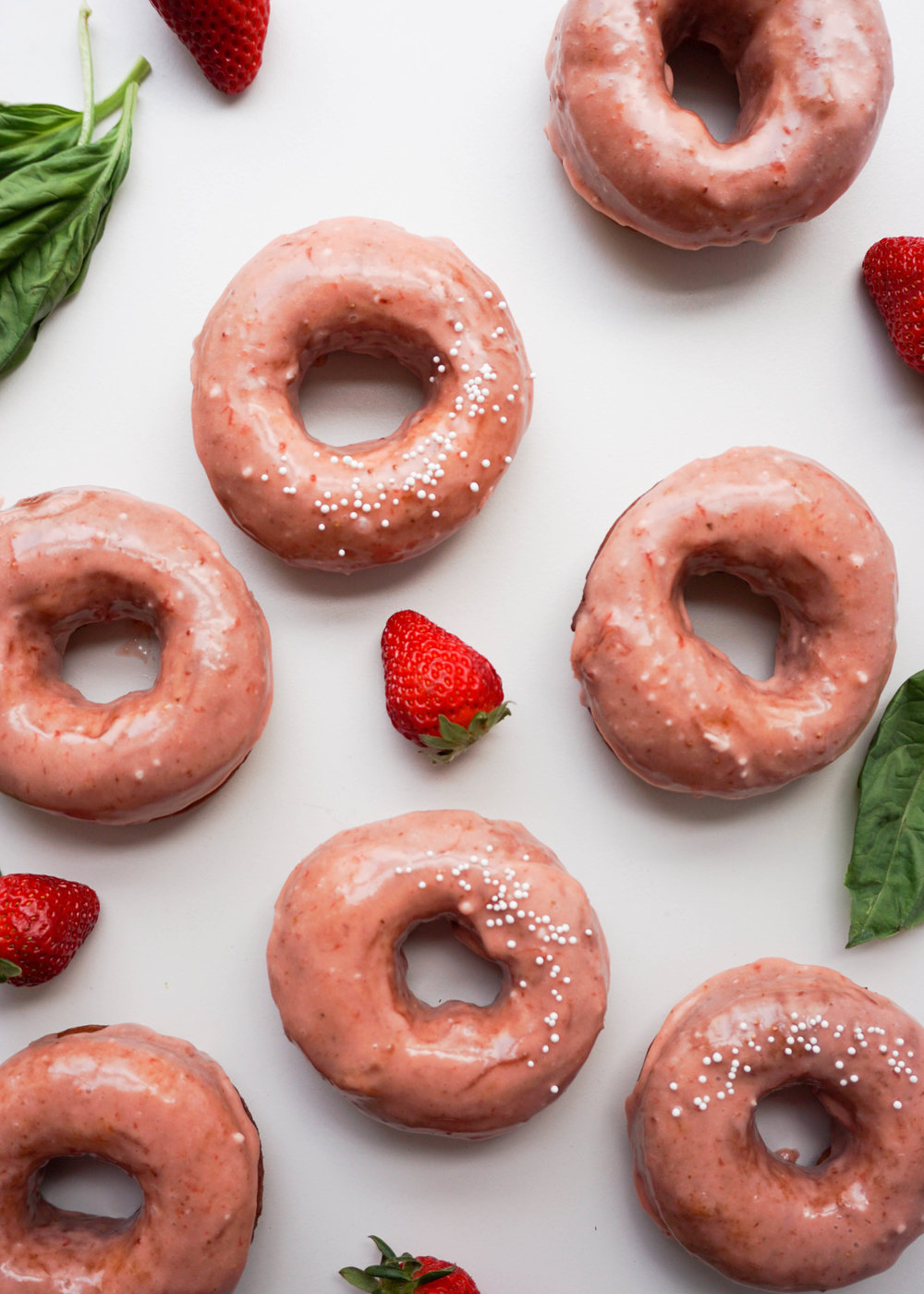 Strawberry Basil Donuts