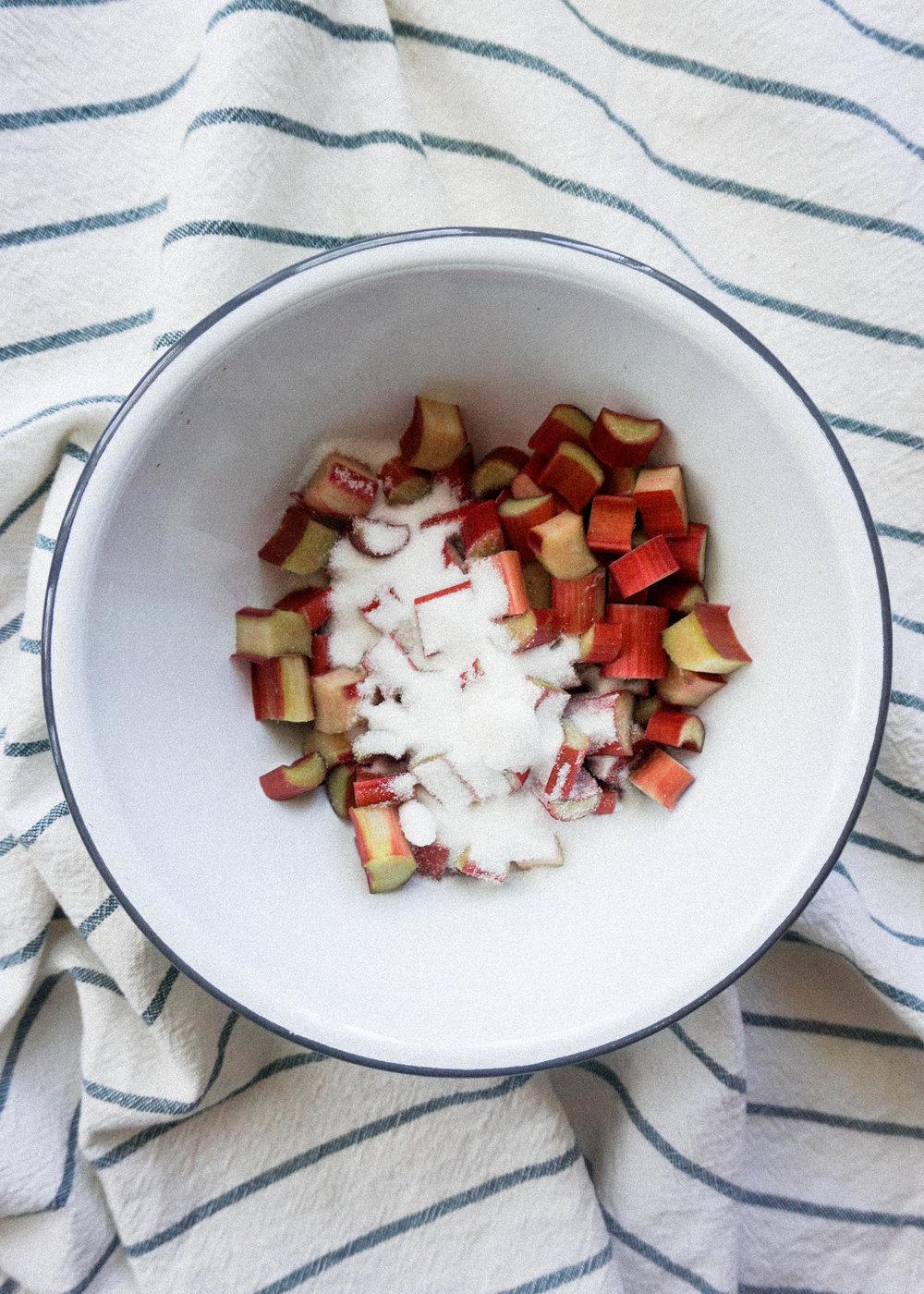 Mini Rhubarb Crepe Cake