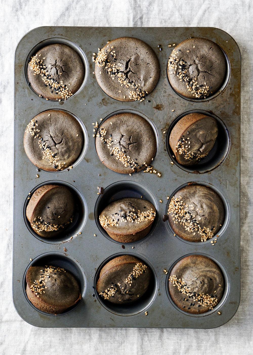 Black Sesame Mochi Muffins