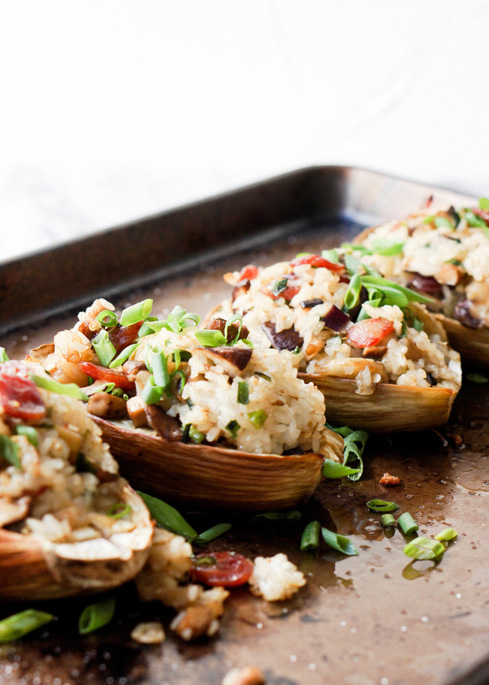 Sticky Rice Stuffed Eggplant
