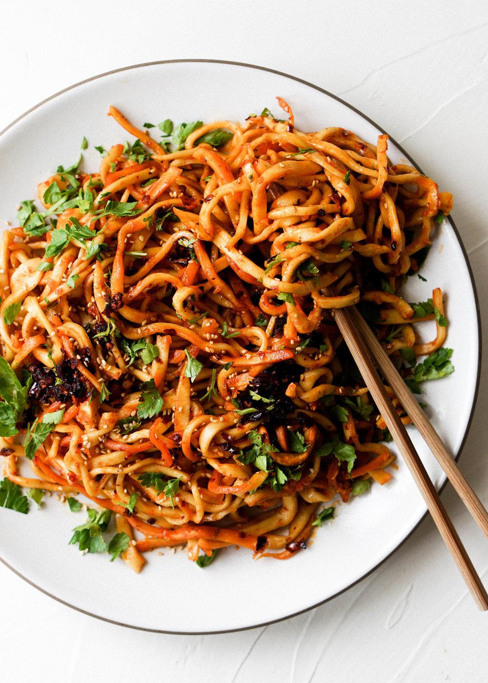 Chili Garlic Noodles - Eat Cho Food