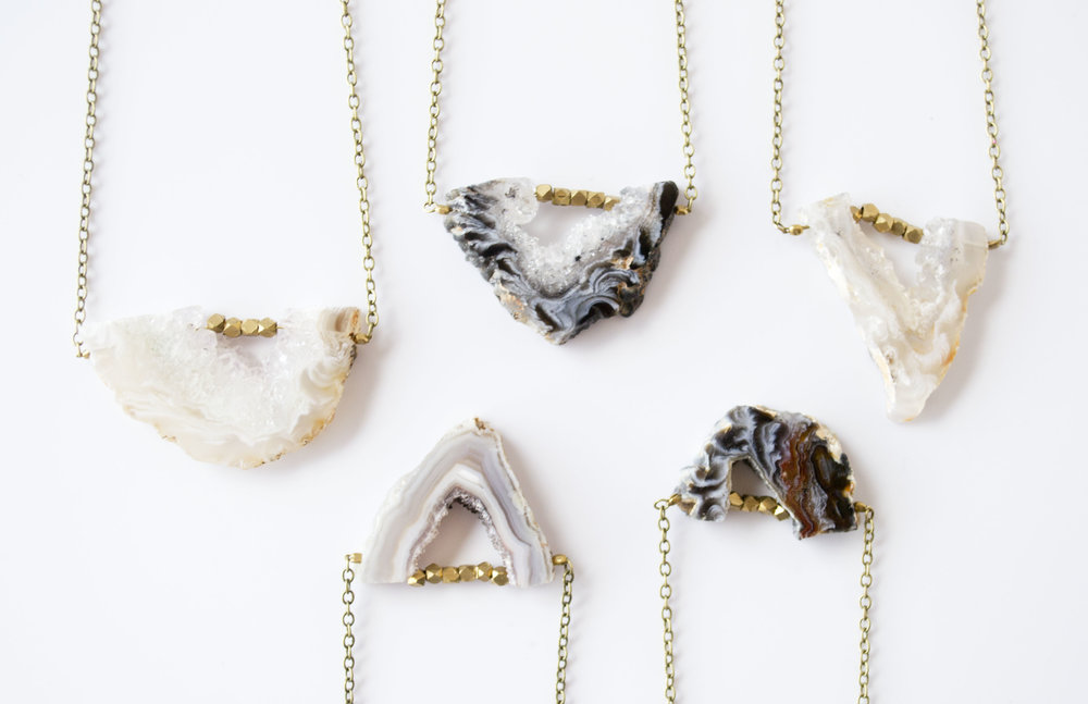 Agate slice necklaces