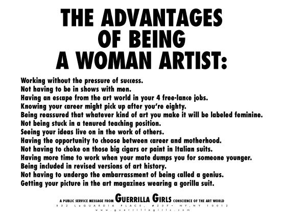 The Advantages of Being a Woman Artist  The Guerrilla Girls