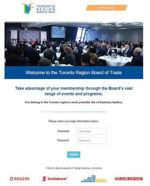 toronto region board of trade - wifi landing page