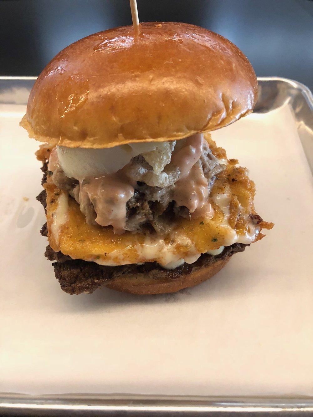 """TILT's """"Piggy Walls"""" burger"""