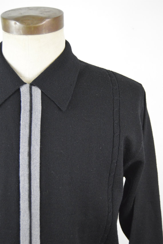 1960s Black Leonardo Strassi Italian Knit