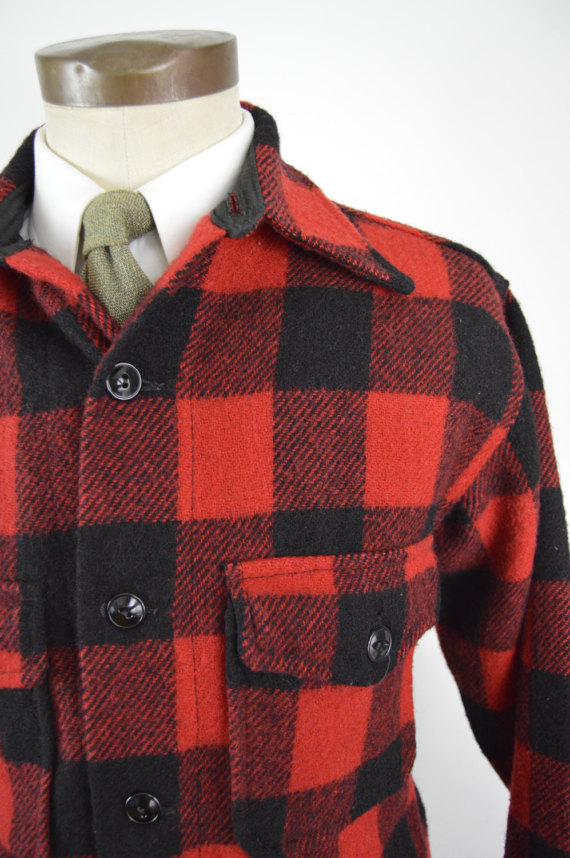 1950s Red and Black Glendale Outerwear Buffalo Plaid