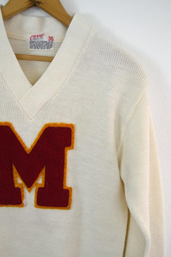 1960s White V Neck Letter Sweater by Coane