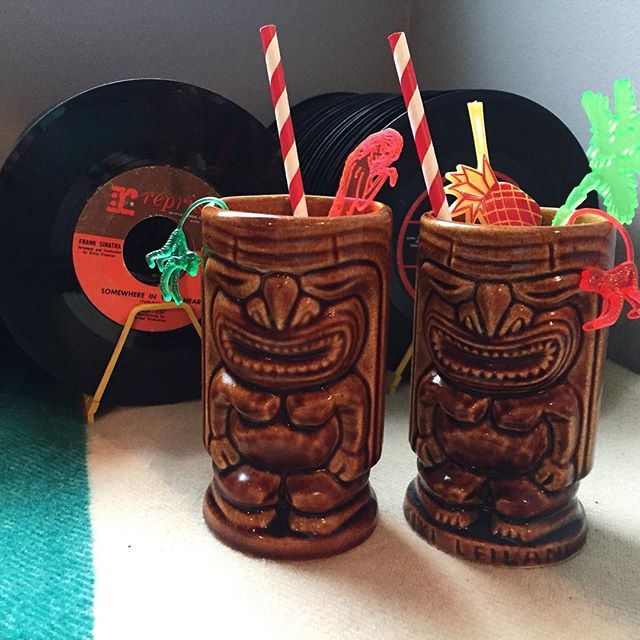Been photographing, measuring, listing, shipping and thrifting since 7am and it's finally tiki-o-clock! 🗿🍹✌🏻️