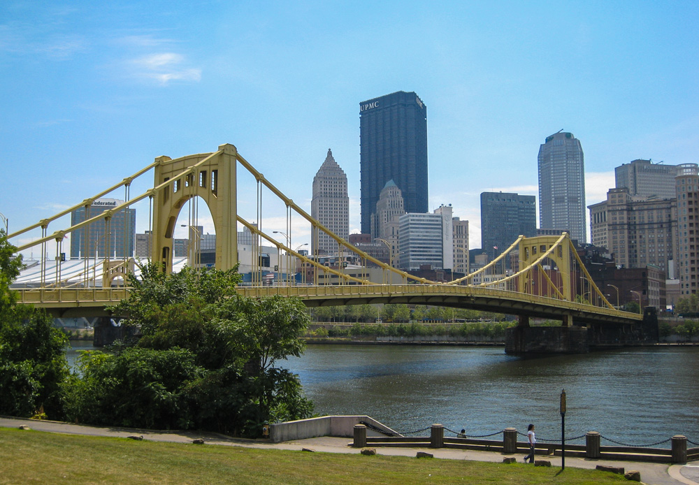 One of Pittsburgh's famous yellow bridges