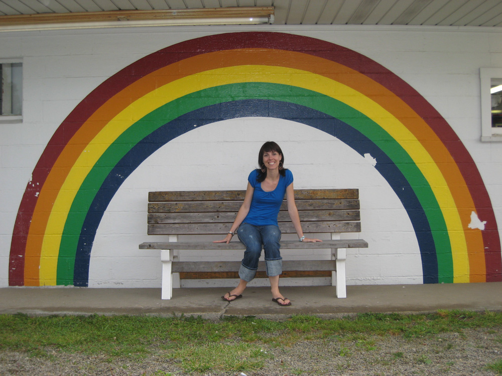 "As we were driving through the country side to go to the ""famous houses"" we passed by an ice cream shop & I made my husband take my photo under the rainbow. Not sure if I was channeling my inner love for Rainbow Brite, but it makes me happy every time I see it."