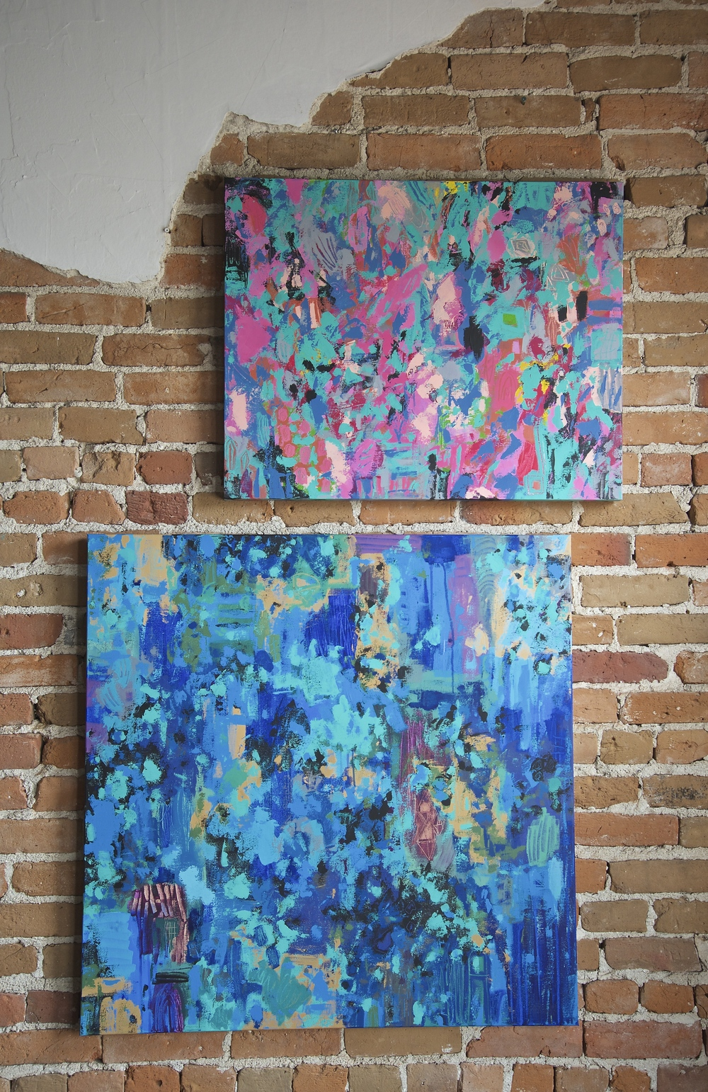 "There are nine paintings in the show. Here is a glimpse at two of my favourites ""Casual Party"" (30""w x 24""H) and ""Make Some Noise"" (36""w x 36""h) Isn't the wall amazing!"