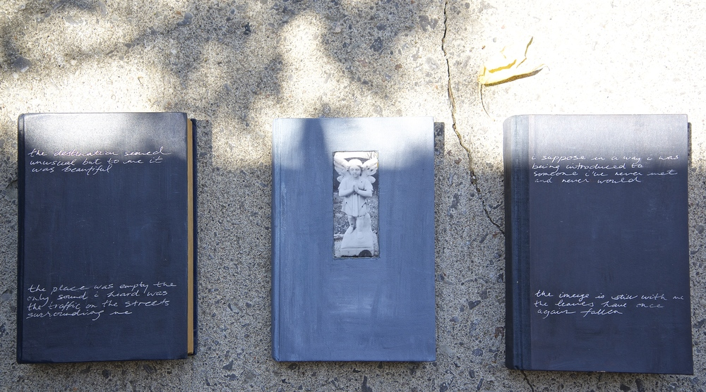 This installation hung on the wall, the brackets are on the back of these books that I painted from a thrift shop. This was an assignment (not sure the topic), I had the idea that I wanted to have a photo of an angel inside one of the books and travelled to a cemetery in my hometown to find this. For a while I was into discovering unique decorative statues, I even asked my husband to come to a cemetery while we were on holiday in Cuba. These are dated 1999.