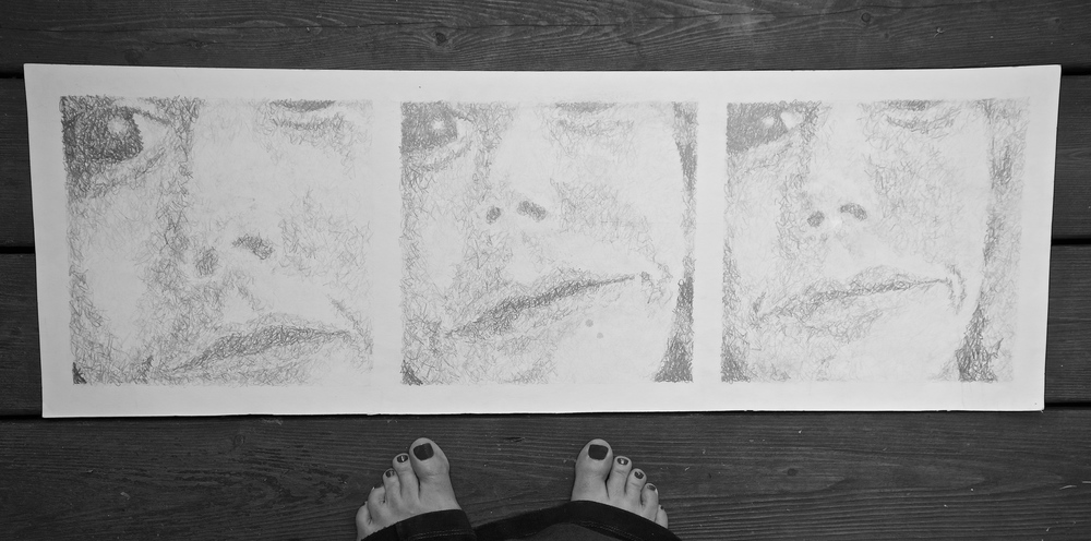 This assignment was a self portrait. This is one of a triptych. The first focuses on the eyes. The second on my eyes and nose, and lastly my entire face. I remember that I did quite well on this even though I did the entire assignment the day before it was due.  To be twenty again!
