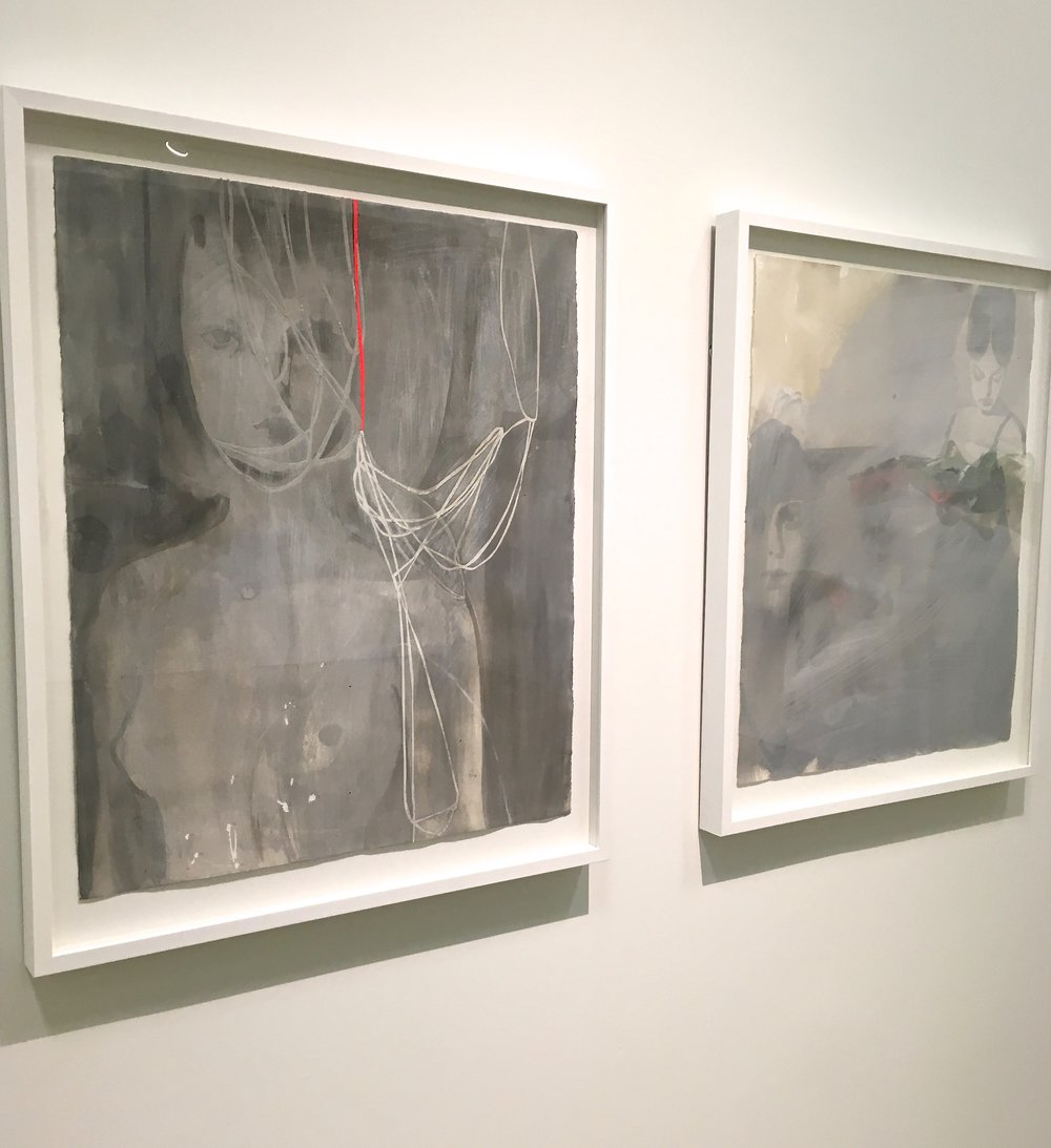 A pair of Tina Berning's Acrylic on Paper pieces.