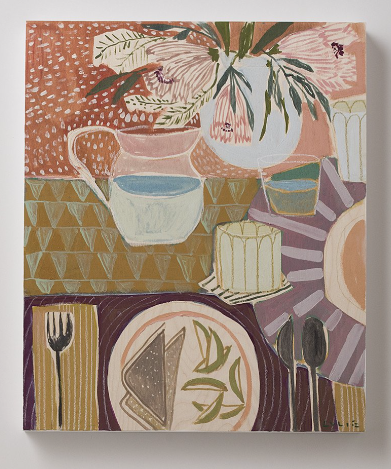 I adore the work of Lulie Wallace, this is one of her pieces. She mixes objects and patterns so well.