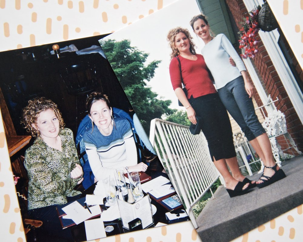 I think I was 21 in these photos. I was into up-do's & as you can see, capris & platforms were obviously the trend. I even found a photo of Roz in her favourite top!