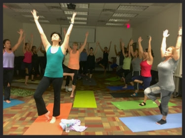 Corporate Yoga at Bank United in Miami Lakes.