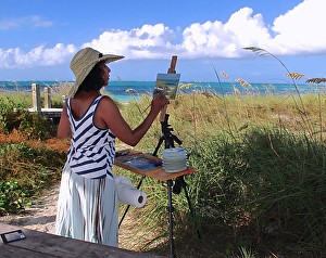 Plein air painting in the Caribbean using the Coulter System easel