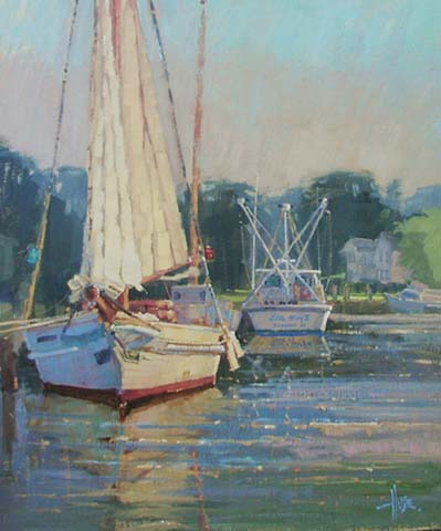 First LIght, 24x20, Skipjack and fishing boat in Maryland