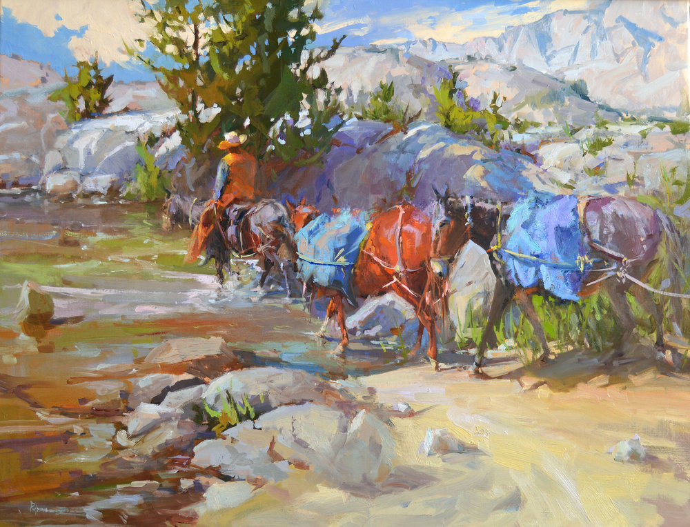 Several plein air paintings were used as the resource for this composite piece created in the studio. The majority of those paintings were made during pack trips in the  Eastern Sierra Mountains . Every August a group of us head up for our annual painting, camping trip. We usually make camp somewhere between 9–11,000 ft. elevation. It's a difficult hike for me to make. Living in middle Tennessee doesn't give me much chance to 'practice high elevation breathing.' I work out for months to prepare my muscles for the 6-9 mile hike each year. These pack mules carry the bulk of the load for us, including all of the food for the cook's tent for the trip. Anything over 50 lbs., we pack in ourselves on our backs. This is one sure way of cutting down on what you bring along! I want to think lightweight, warm, dry clothes and boots, minimal colors of paint tubes, fewer  brushes , my lightest pochade called a  Sketchbook  and  mini tripod , and Claessens #15 double oil-primed linen mounted on 3mm Sintra or gatorfoam.   In this painting, the mules are crossing one of several streams along our way. Often times the mules are on a different trail than we are, but it is a reassuring sight when our paths cross every now and then.  In the background we see the Minarets, and Banner Peak, and Mount Ritter (12,264'; 12,936' and 13,150' respectively).  We took the  Ritter Trail  out of  Red's Meadow  Pack Station. Our camp site was just below Banner Peak on  Garnet Lake  . Known as part of the   Ansel Adams Wilderness ,  Garnet Lake  is 8.55 miles from the trailhead and about 3 miles north of the  John Muir  Trail.