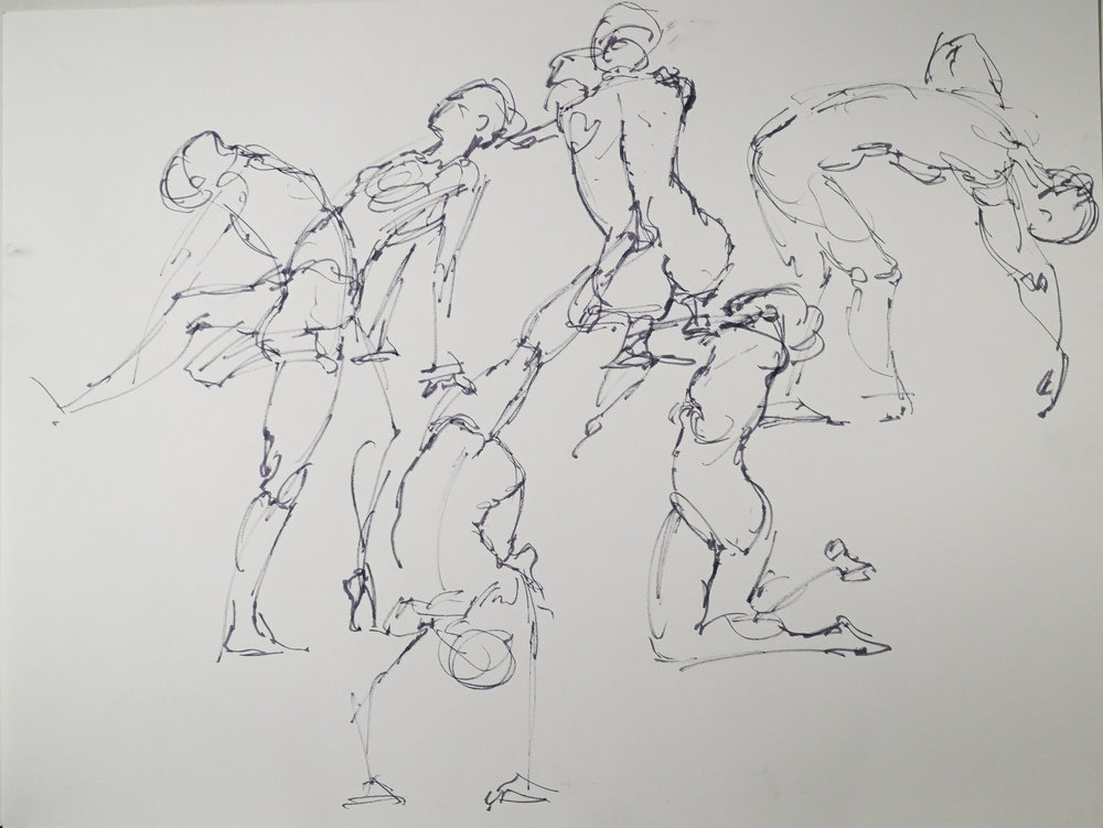 These are one-minute gesture sketches.  I work on getting more lyrical in my lines.  If you don't enjoy drawing the figure, work on getting the gesture of a tree. Whatever you draw, just draw.