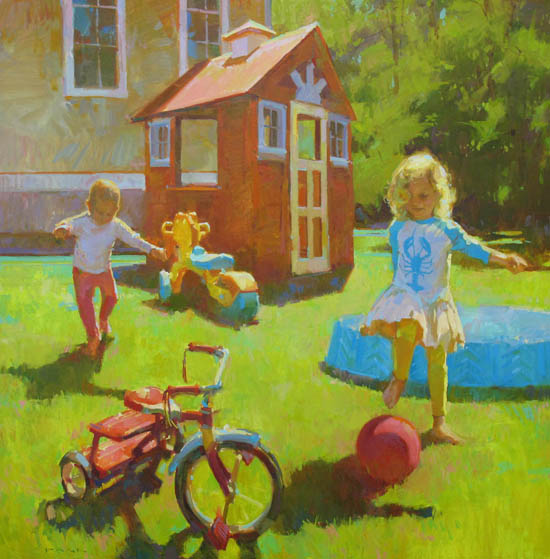 "Dooryard Toys 48x48"" oil on canvas"