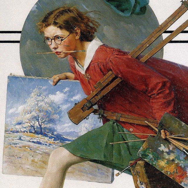 "Norman Rockwell , ""Girl Running with Wet Canvas"". \  All is not lost when you have to quit because of a thunderstorm."