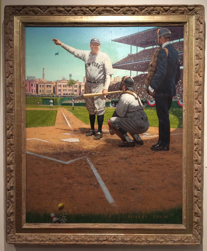Robert A. Thom The Mighty Babe (Oil on Canvas. 1976. Baseball Hall of Fame, Cooperstown, NY.) Babe Ruth pointed to the stands and then knocked one out of the park.  But in painting sometimes a swinging bunt with a few errors in the field will also get the job done.