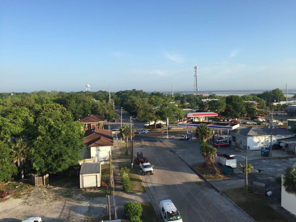 The city of Apalachicola, with the bay in the background