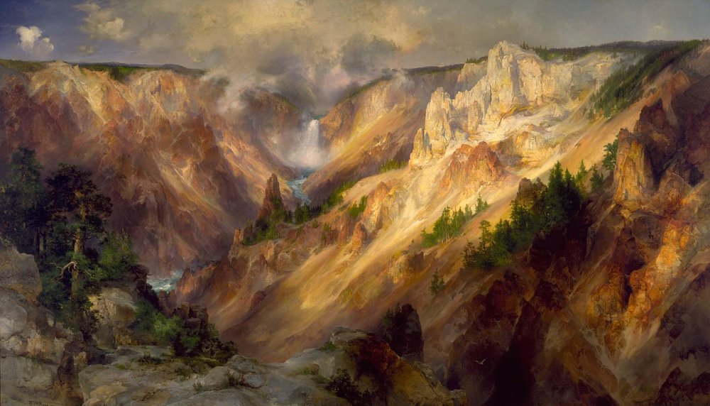 """The Grand Canyon of Yellowstone,"" by Thomas Moran, 1893-1901, oil, 7 x 12 feet. Collection of the Smithsonian American Art Museum, Washington, DC"