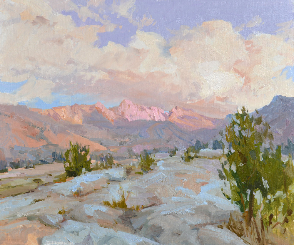"""Up She Rises,"" by Lori Putnam, oil on linen, 18 x 24 in. A view of Sailor Lake, located between Sierra National Forest and Kings Canyon National Park"