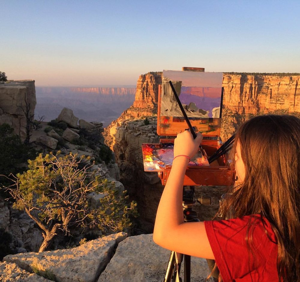 Skylar Lipking, representing the next generation, painting Moran Point Grand Canyon. Photo by Jeremy Lipking