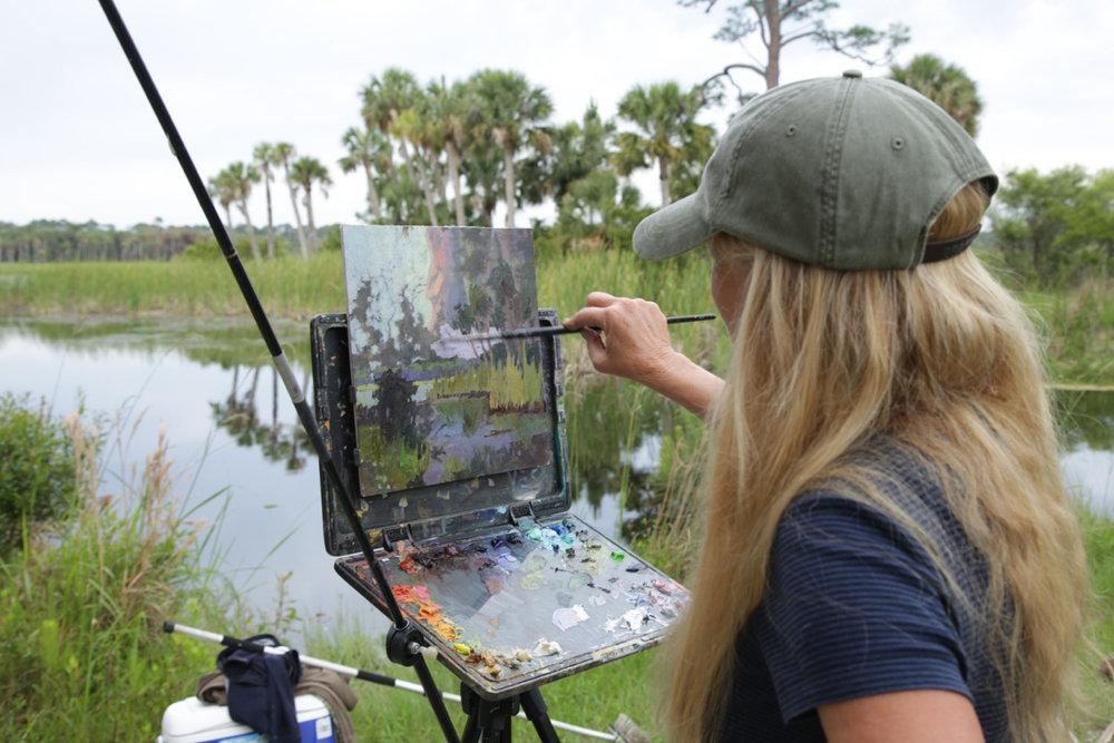 Debra Huse painting on St. Vincent Island
