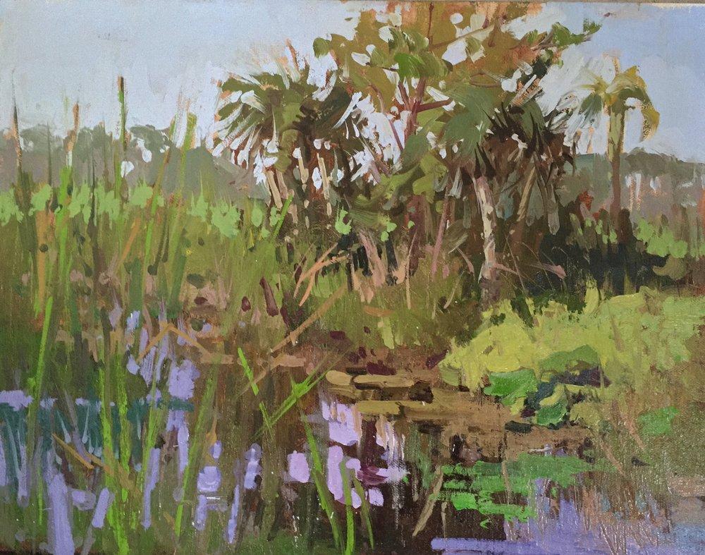 """Alligator Alley,"" by Lori Putnam, oil, 11 x 14 in."