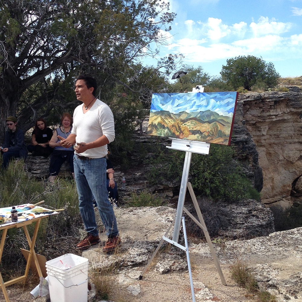 Tony Abeyta speaking about his process at Montezuma's Well during the Sedona Plein Air Festival