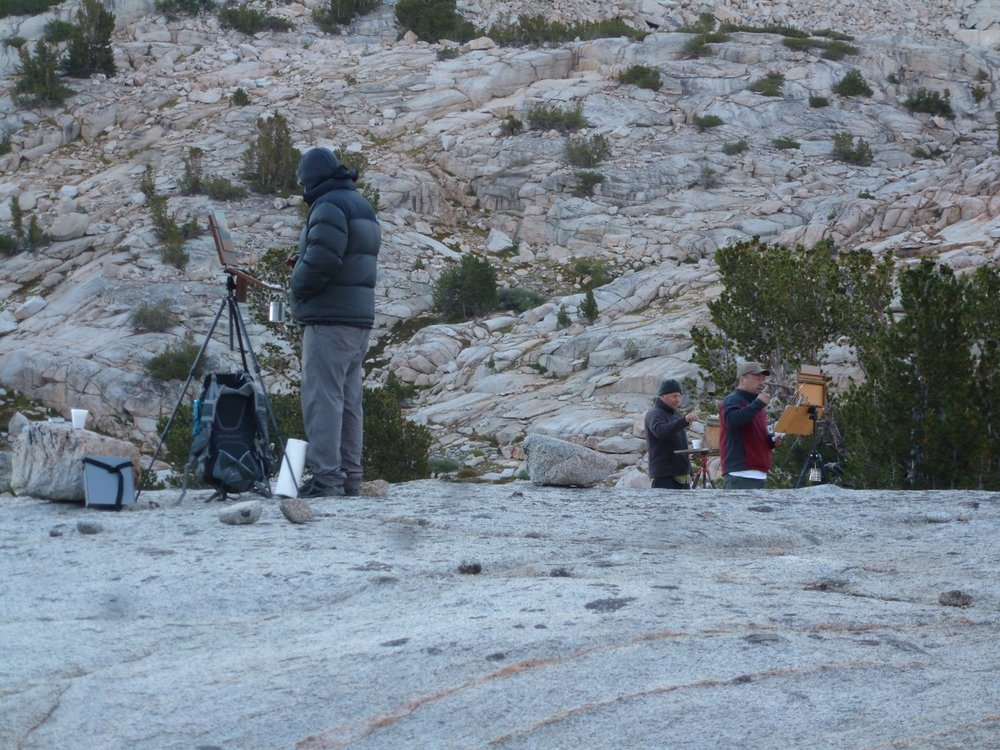 Ernesto Nemesio, Paul Kratter, and Terry Miura painting in the early morning near Drunken Sailor Lake in the Eastern Sierra