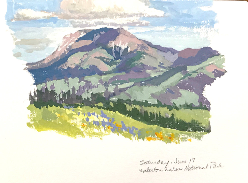 Gouache sketch from Waterton Lakes National Park, Alberta