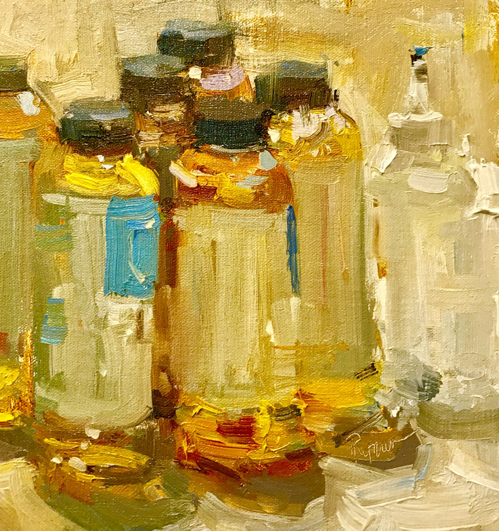 Detail, Gamblin Bottles, Oil on linen, Private Collection