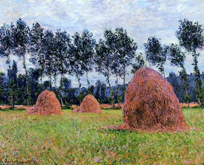 Claude Monet, Haystacks, Overcast Day, plein air, 1884