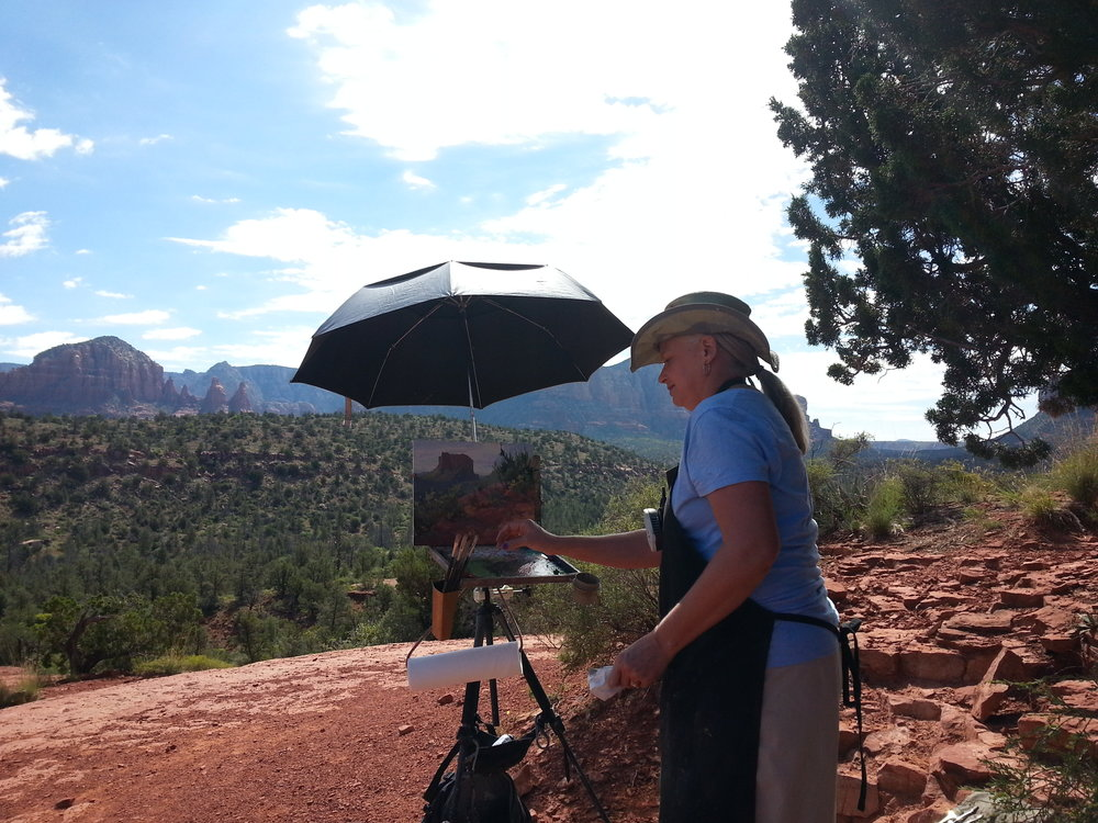 Plein air Events: Tips on ParticipationAmerican Artist Magazine,February, 2008 - Lori painting in Sedona