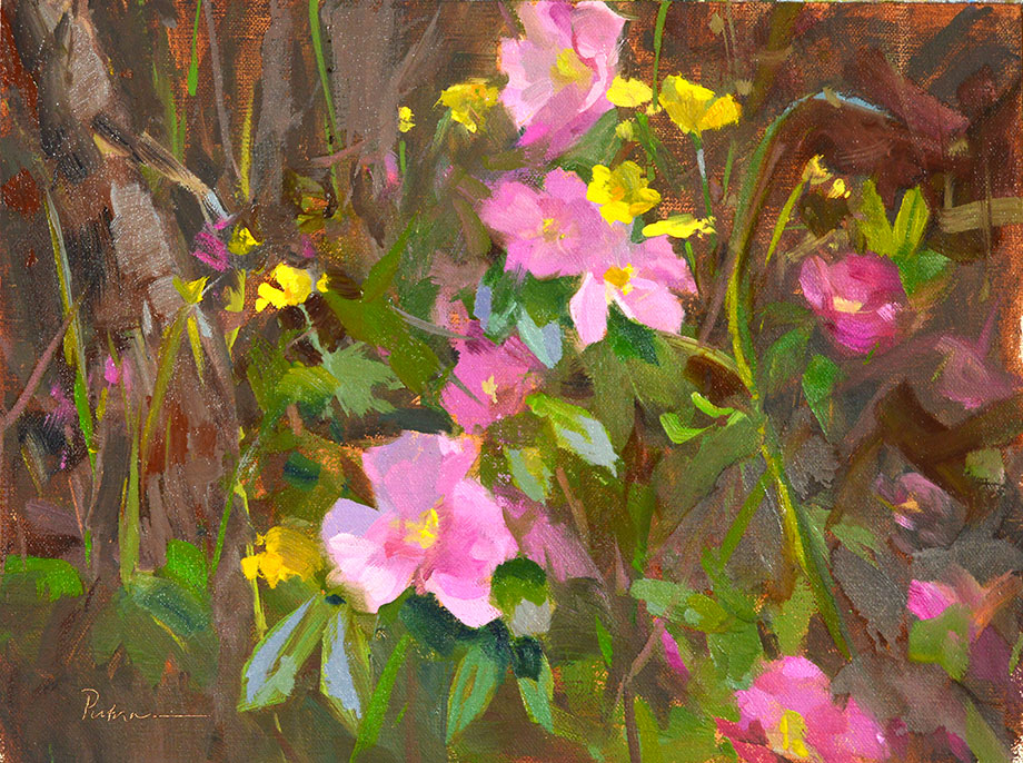 Wild Rose Country, oil on linen panel, 9 x 12, Collection of the artist