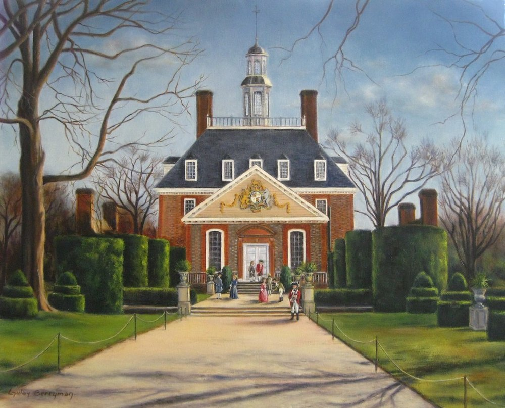 The Gardens of the Governor's Palace,    24 x 30 in., oil on canvas by Gulay Berryman