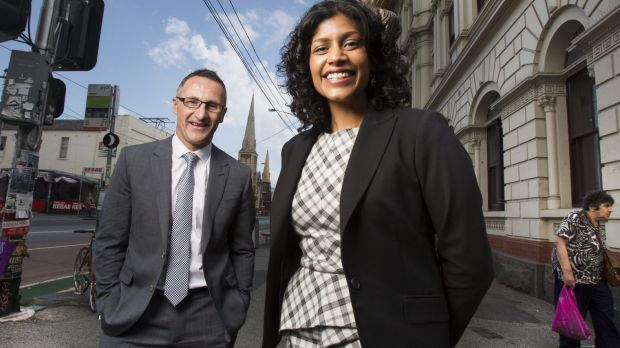 Councillor and mayor of City of Moreland, Samantha Ratnam with Greens leader, Richard Di Natale.