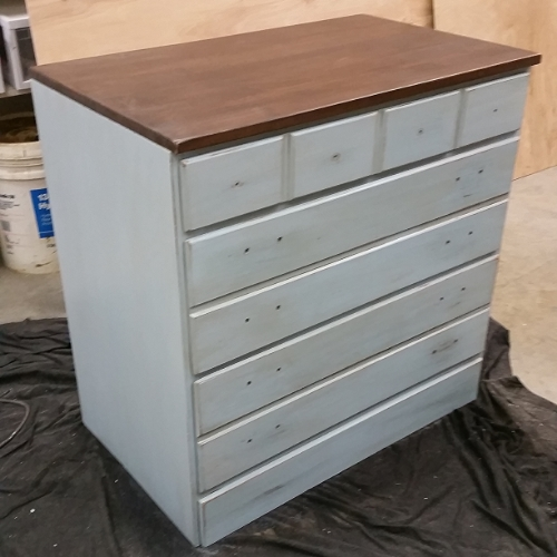almost done blue dresser diy