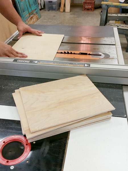 cutting the center dividers to size for Christmas Card Holder- NJS Design Company