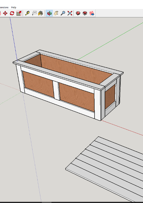 sketchup drawing for bench storage