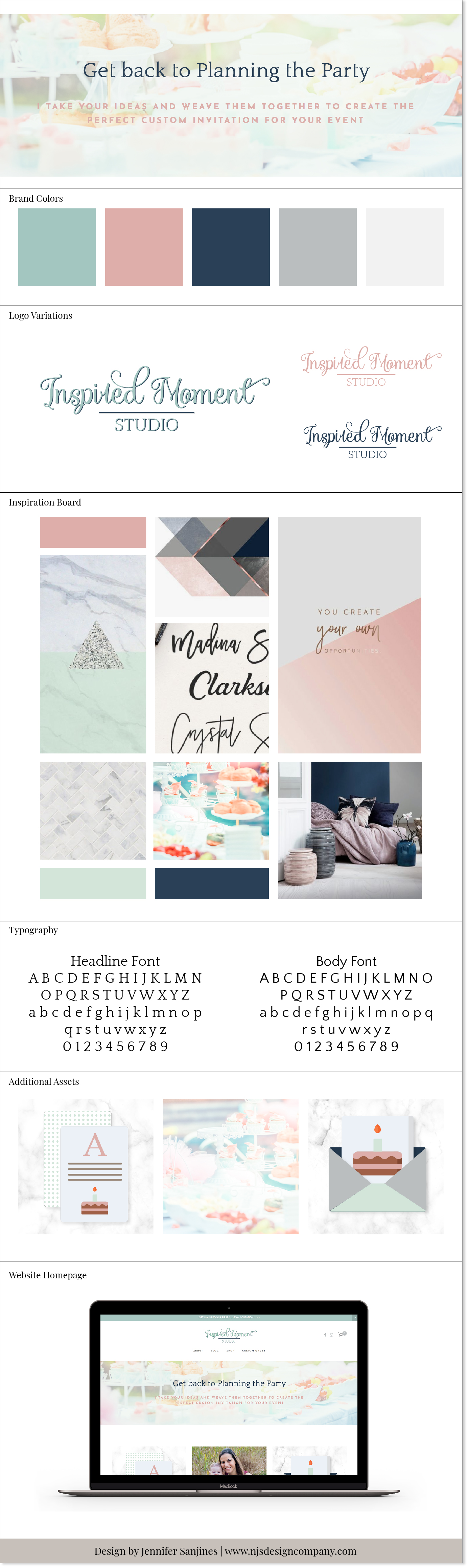 branding board mood board design for inspired moment studio by njs design company custom squarespace website designs for small handmade businesses